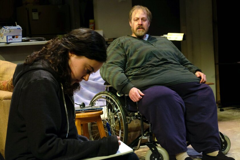 """Erin McIntosh and Andrew Oswald in Cygnet Theatre's """"The Whale."""""""