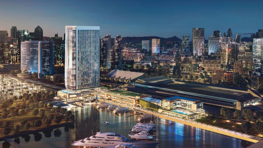 Rendering shows Fifth Avenue Landing's plans for a bayfront hotel, promenade and a smaller budget-friendly hotel on the site where a convention center expansion has been proposed.