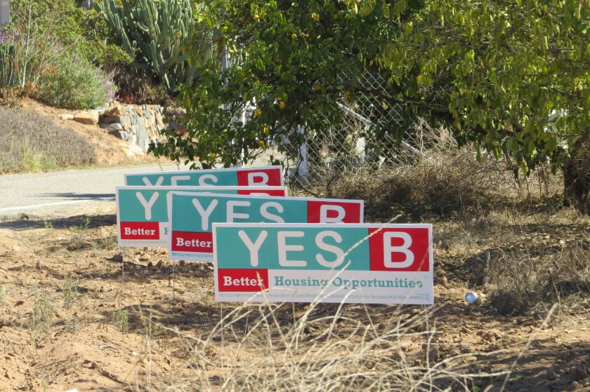 Yes on B signs in front of what would be the entrance to the master-planned community in Valley Center