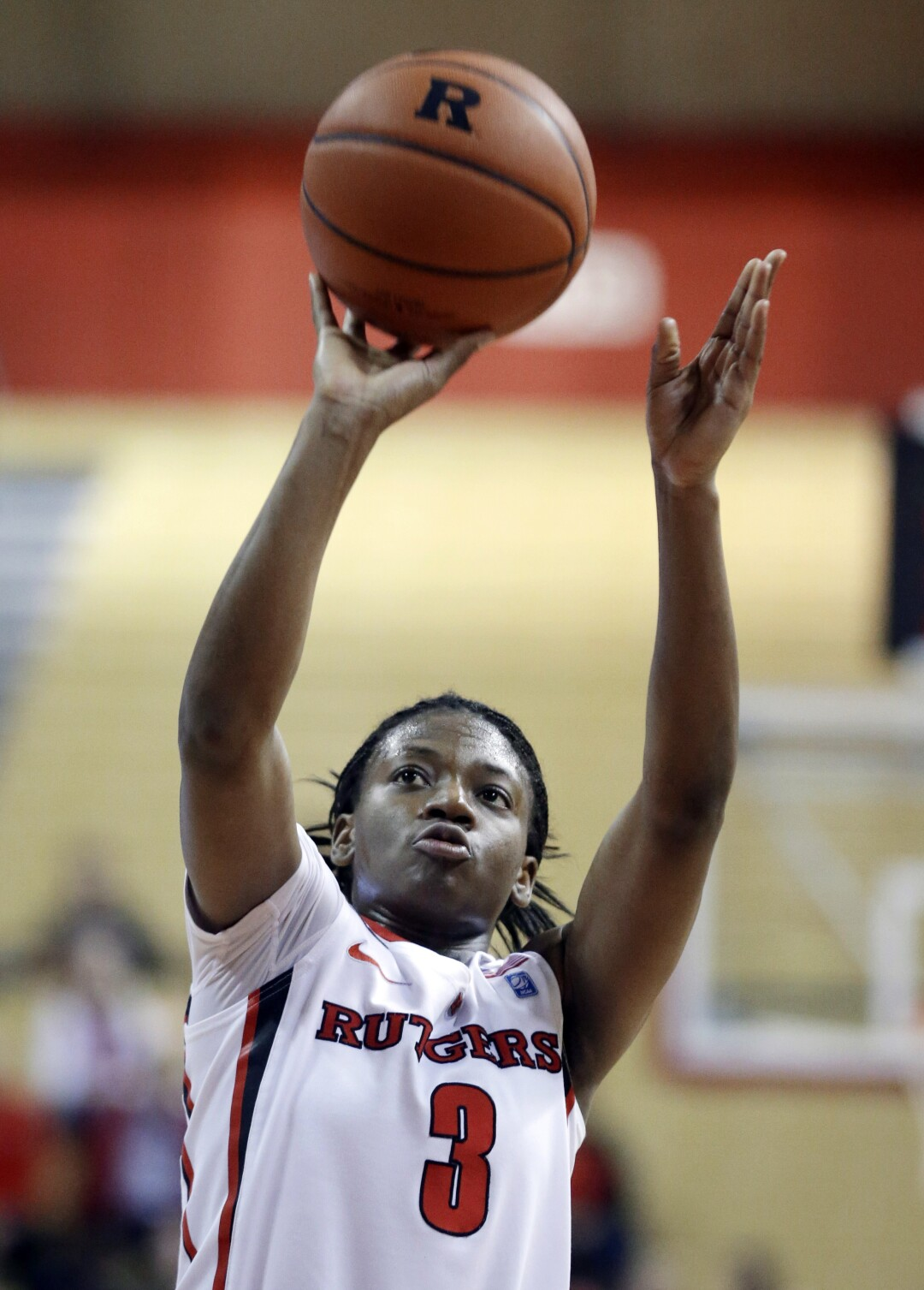 Erica Wheeler puts up a shot in 2013 while playing for Rutgers.