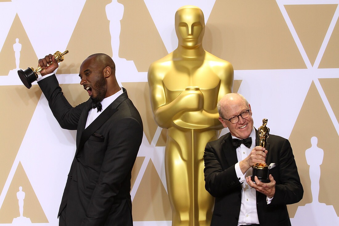 Kobe Bryant, Glen Keane pose in the press room at the 90th Annual Academy Awards held at Hollywood & Highland Center on March 04, 2018 in Hollywood, California, United States. (Photo by Fanny Garcia/DDPixels)