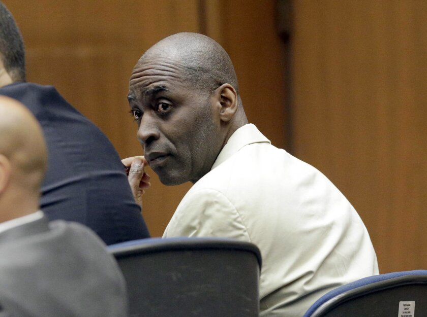 Actor Michael Jace, who played a police officer on television and charged with murdering his wife, listens during closing arguments during his trial at Los Angeles County Superior in Los Angeles Friday, May 27, 2016.(AP Photo/Nick Ut)