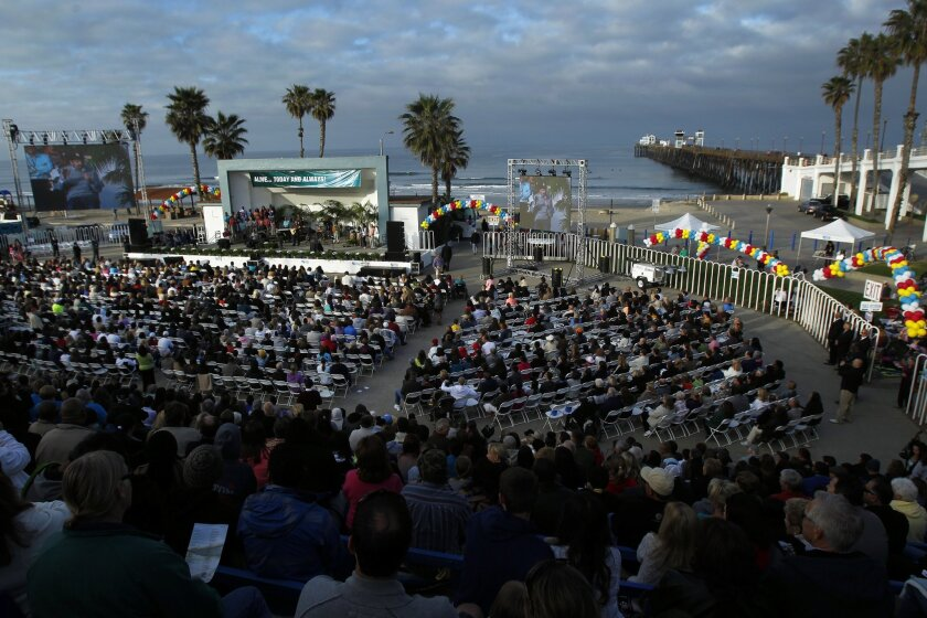Thousands of people attended an Easter Service hosted by New Venture Christian Fellowship at the Oceanside Pier Plaza Amphitheatre.