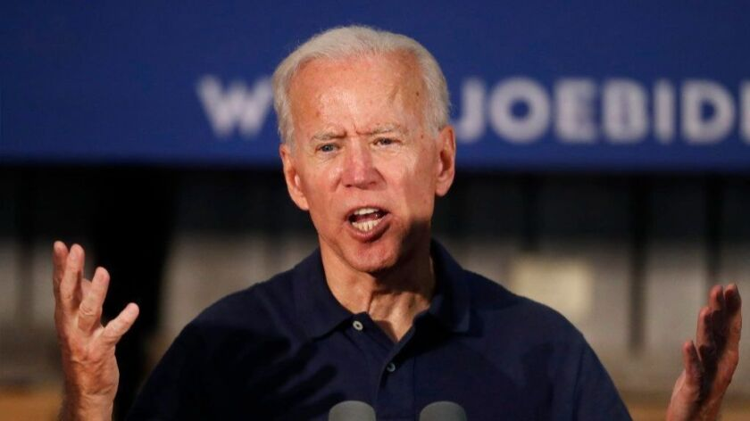 Former Vice President and Democratic presidential candidate Joe Biden speaks Saturday in Londonderry, N.H.
