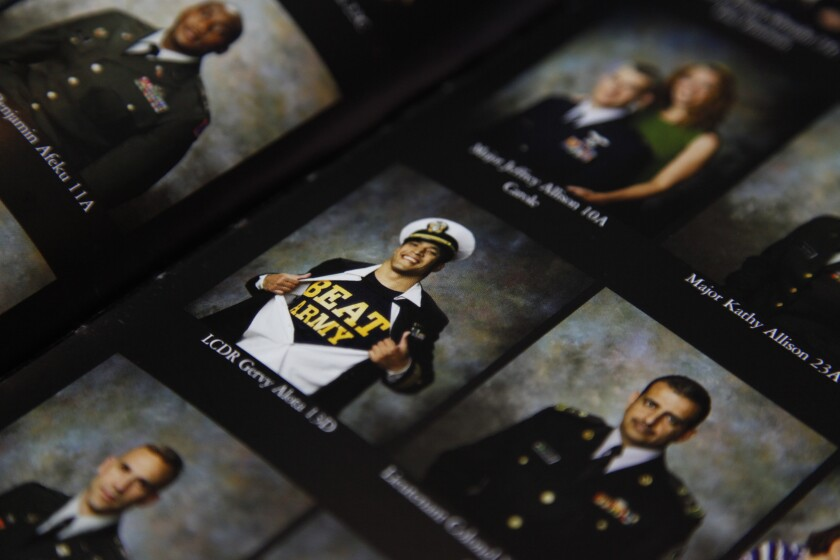 Capt. Gery Alota, then a lieutenant commander, shows off his Midshipmen pride in an all-Army school yearbook.