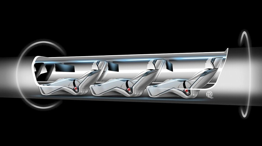An image released by Tesla Motors shows a sketch of the Hyperloop design with passengers.