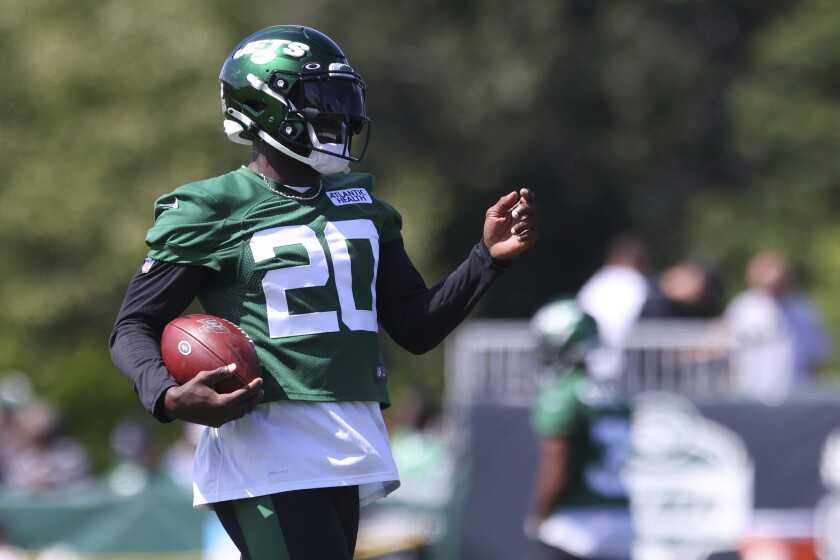 New York Jets safety Marcus Maye (20) during practice at the team's NFL football training facility, Saturday, July. 31, 2021, in Florham Park, N.J. (AP Photo/Rich Schultz)