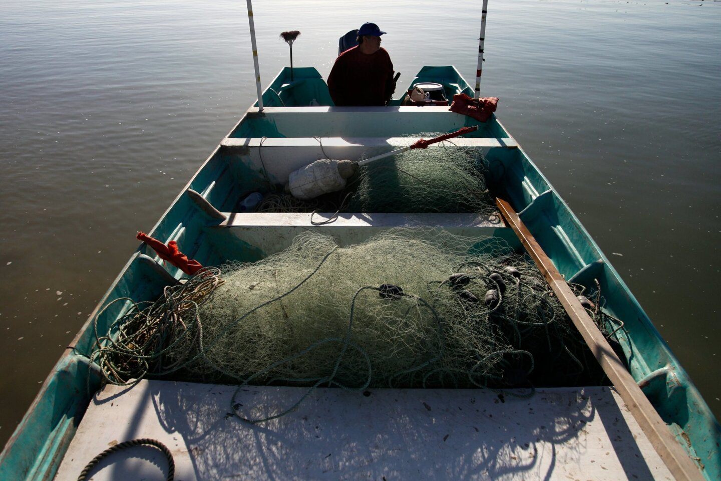 Fisherman Manuel Jordan prepares to leave the San Felipe port early morning. The ban for gill net fishing begins April 28, 2015.