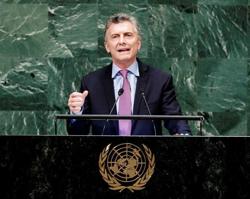 El presidente de Argentina, Mauricio Macri, interviene durante el Debate General de la Asamblea General de las Naciones Unidas (ONU) hoy, martes 25 de septiembre de 2018, en la sede del organismo, en Nueva York (Estados Unidos). EFE