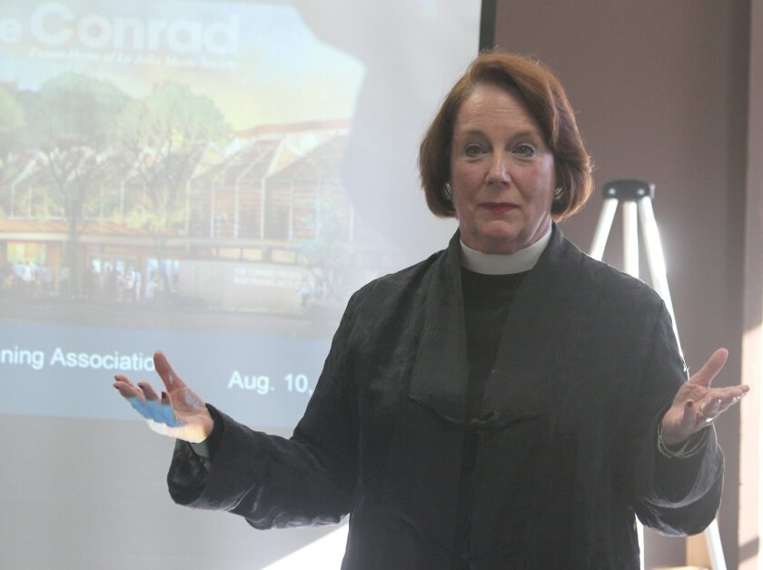 Rev. Eleanor Ellsworth of St. James By-the-Sea Episcopal Church speaks in favor of La Jolla Music Society's proposed concert hall and office complex on Fay Avenue.