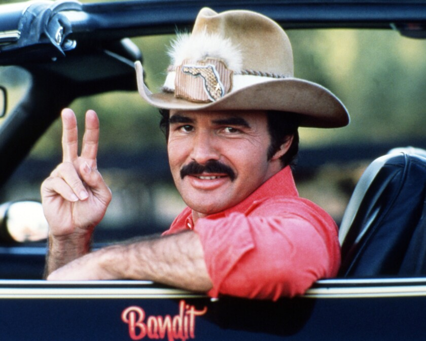 """Burt Reynolds as Bo """"Bandit"""" Darville in 1977's """"Smokey And The Bandit."""""""