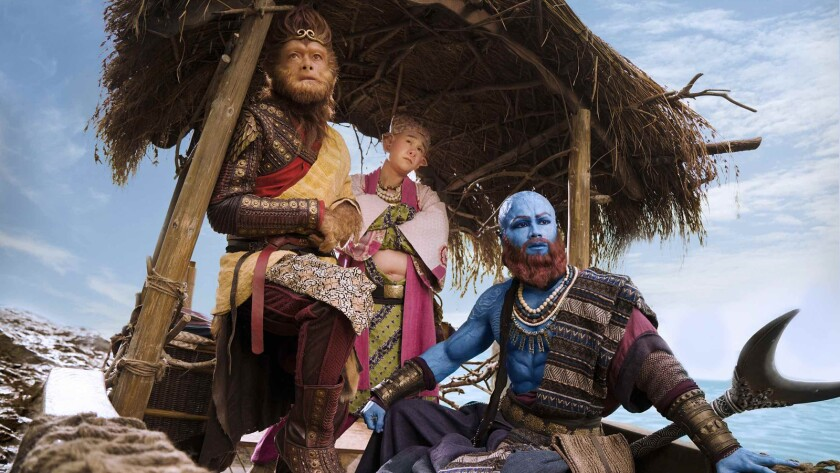 "(L-R) - Aaron Kwok as 'The Monky King,' Xiaoshenyang as 'Bajie,"" and Him Law as 'Sha Wujing' in a sc"