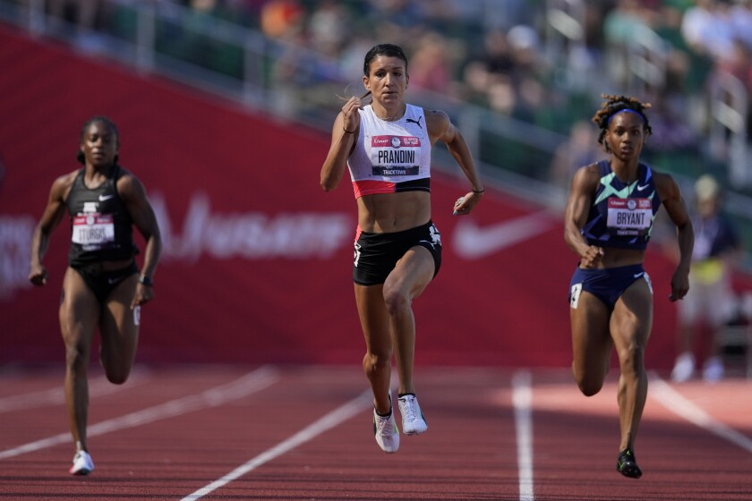 Jenna Prandini runs during track and field trials for the Tokyo Olympics.