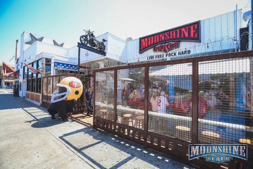 Moonshine Beach bar in Pacific Beach is known as a hangout for 49ers football fans.