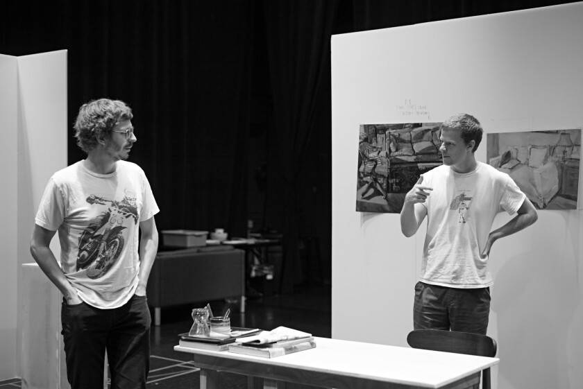 "Micahel Cera and Lucas Hedges during rehearsals for ""The Waverly Gallery. "" Credit: ? Brigitte Lacom"