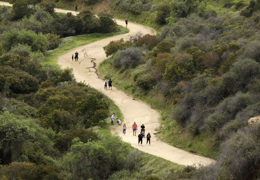 People on a Griffith Park trail, some spread out and some clustered together.