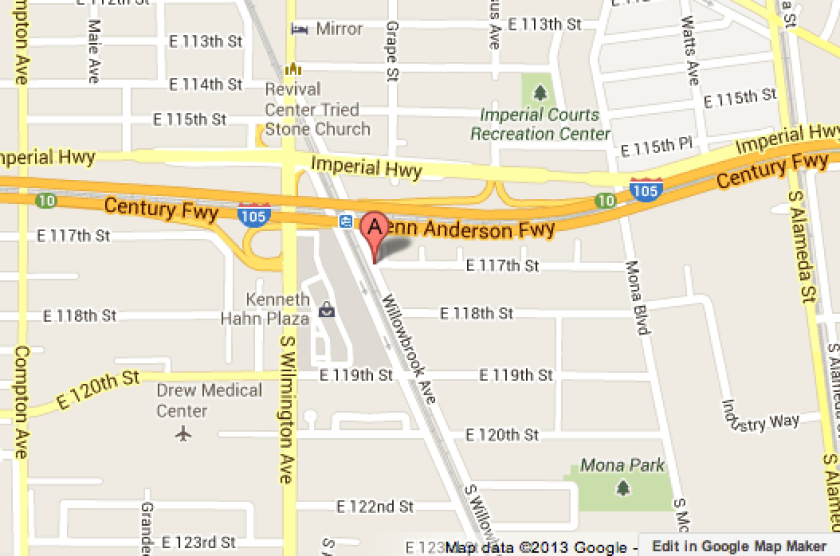 Map shows general area when an officer was shot at on Tuesday evening.