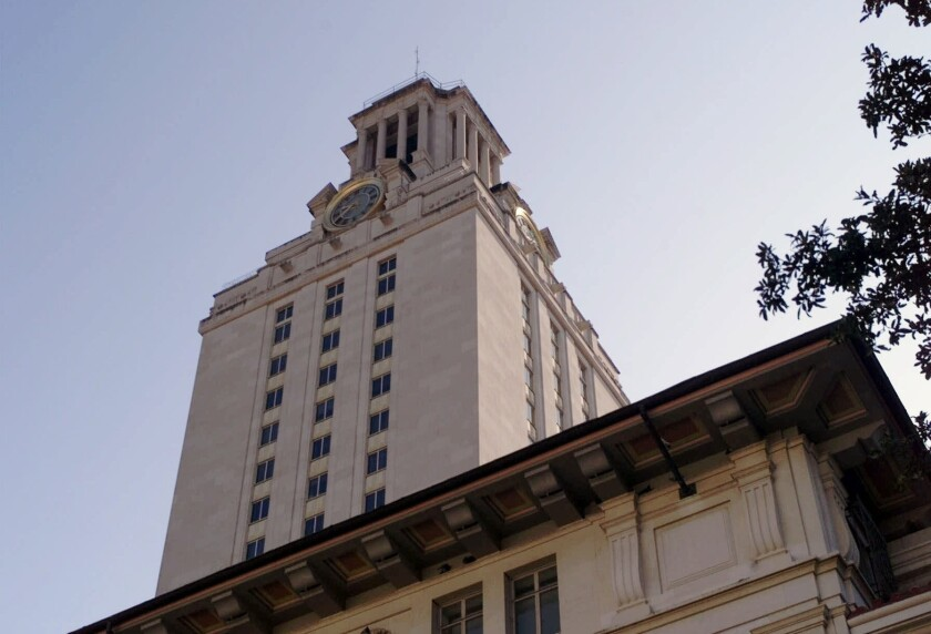 The main bell tower at the University of Texas in Austin. The 100 brains that were missing from the campus have been found, sort of.