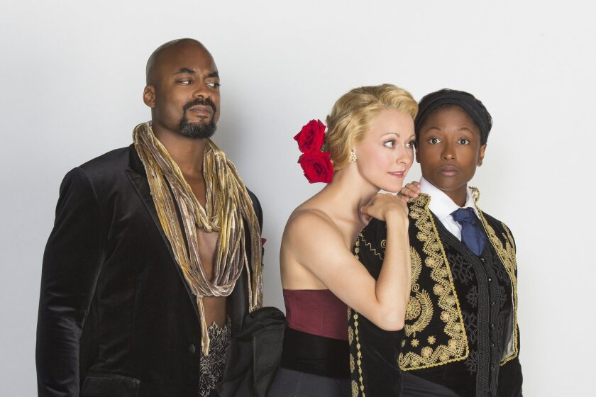 Terence Archie appears as Orsino, Sara Topham as Olivia, and Rutina Wesley as Viola in The Old Globe Theatre's 2015 Summer Shakespeare Festival production of 'Twelfth Night.'