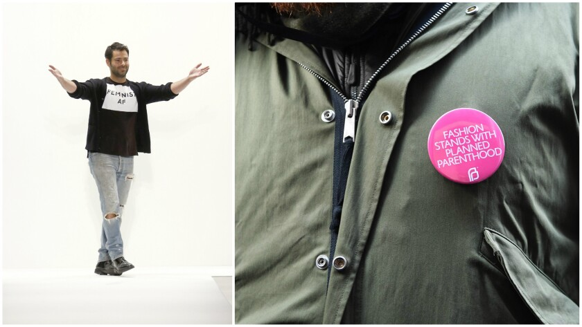 """Designer Jonathan Simkhai takes a bow at the end of his fall/winter 2017 runway show, left, and a fashion week attendee wearing a """"Fashion Stands with Planned Parenthood"""" button."""
