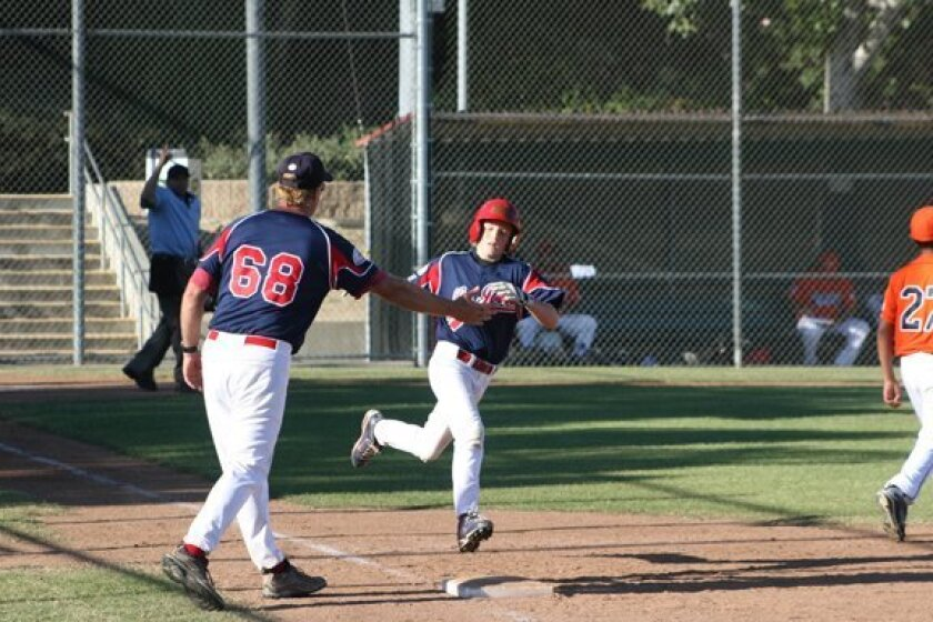 Sterling Hayes' home run trot. Photo by Eric Brown