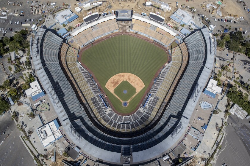 Aerial view of Dodger Stadium on March 25, 2020, a day before the Dodgers' season opener was to be played.