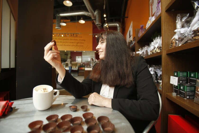 Dr. Beatrice Golomb, sampling the healthy wares at Chuao Chocolatiers in La Jolla