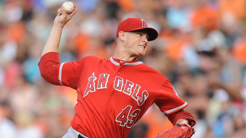 Angels starter Garrett Richards delivers a pitch during the first inning of the Angels' 4-3 loss to the Baltimore Orioles on July 30.