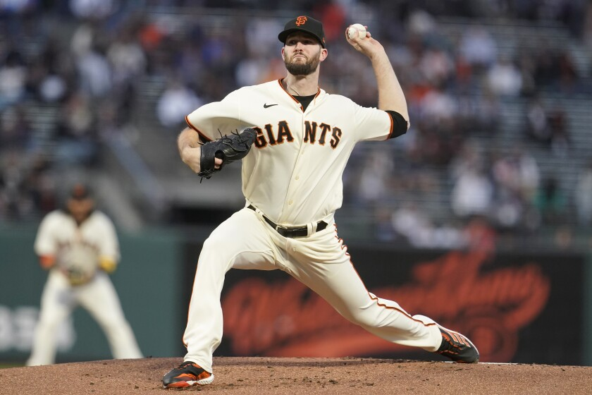 San Francisco Giants' Alex Wood pitches against the Arizona Diamondbacks during the first inning of a baseball game in San Francisco, Wednesday, Sept. 29, 2021. (AP Photo/Jeff Chiu)