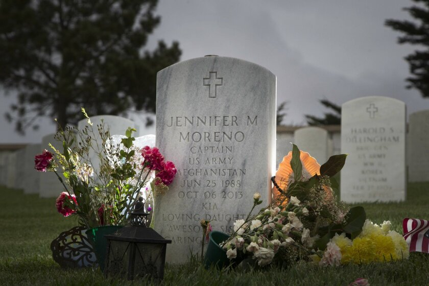 San Diego High School alumna Jennifer Moreno, who was killed while rushing to help a wounded soldier, is buried at Fort Rosecrans National Cemetery.