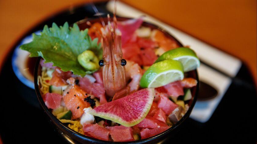 Kaisen-chirashi don served at Junkichi Robata Izakaya, a Japanese restaurant in the Capitol Hill neighborhood of Seattle.