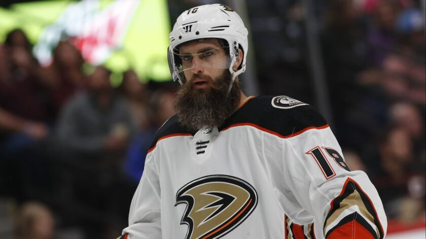Ducks wing Patrick Eaves is shown during his final game in 2017.