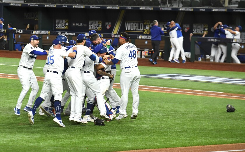 Dodgers players celebrate after beating the Tampa Bay Rays in Game 6 of the 2020 World Series.