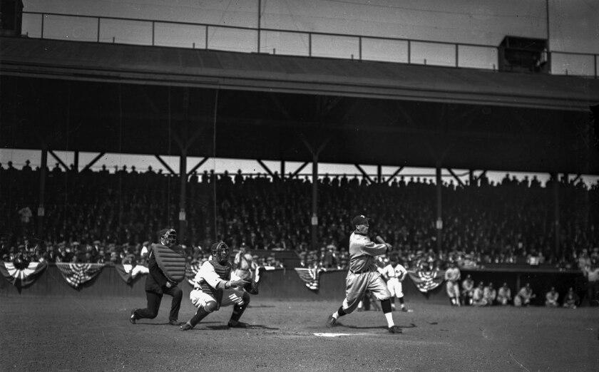 April 7, 1925: Portland Beavers' Emmet McCann gets a first inning hit in season opener game against