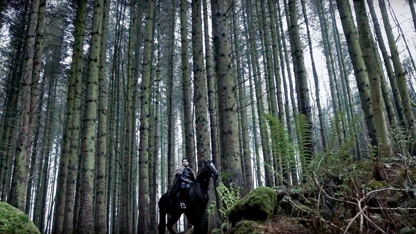 The Wild Wolf: 1:21 (rider in the trees) (Brandon Stark (Shane Gibson) rides toward his wedding in t