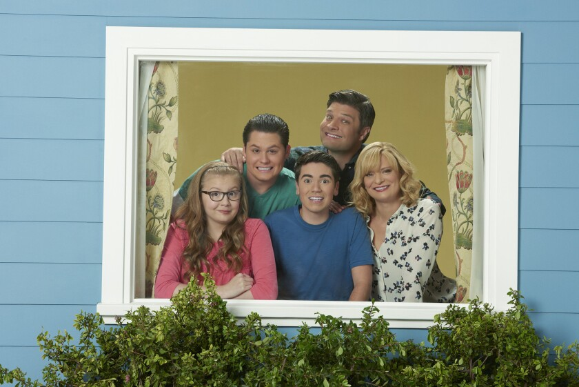 """ABC's """"The Real O'Neals"""" stars, from left, Bebe Wood as Shannon, Matt Shively as Jimmy, Noah Galvin as Kenny, Jay R. Ferguson as Pat and Martha Plimpton as Eileen.."""
