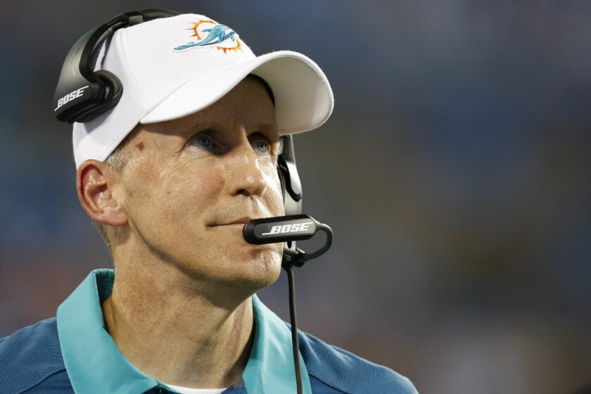 FILE - In this Aug. 22, 2015, file photo, then-Miami Dolphins head coach Joe Philbin watches the action against the Carolina Panthers during the second half of an NFL preseason football game in Charlotte, N.C. With 21 teams not owning winning records through eight weeks, it's no wonder coaches from