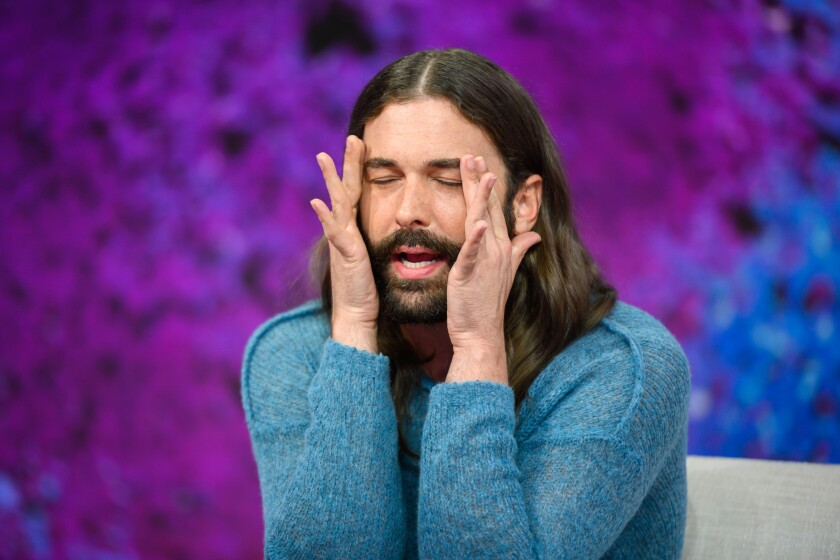 "Jonathan Van Ness, with his eyes closed and hands on the side of his face, on ""Today."""