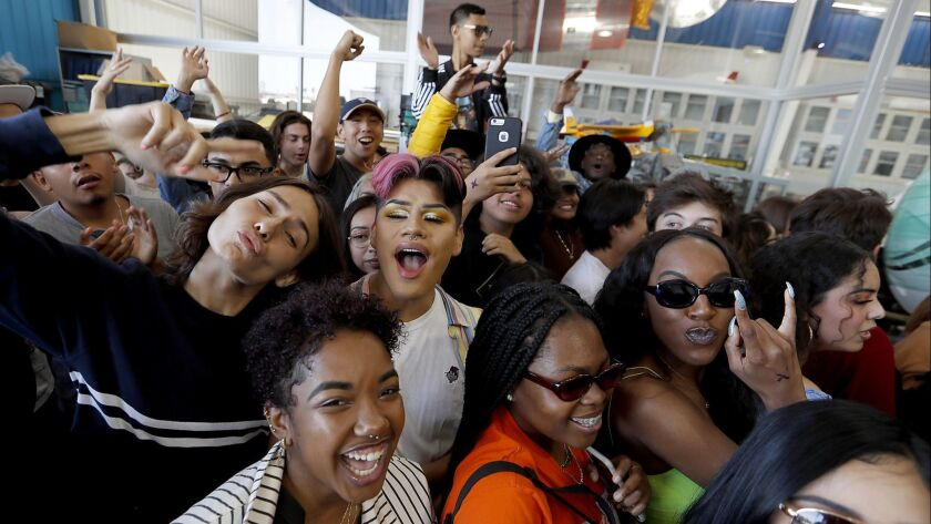COMPTON, CALIF. - MAY 24, 2019. Fans line up for the chance to meet R&B guitarist Steve Lacy during