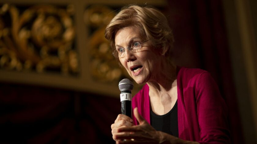 Sen. Elizabeth Warren (D-Mass.), shown at an appearance in Sioux City, Iowa, last month, launched her presidential campaign Saturday at the site of a major labor victory.
