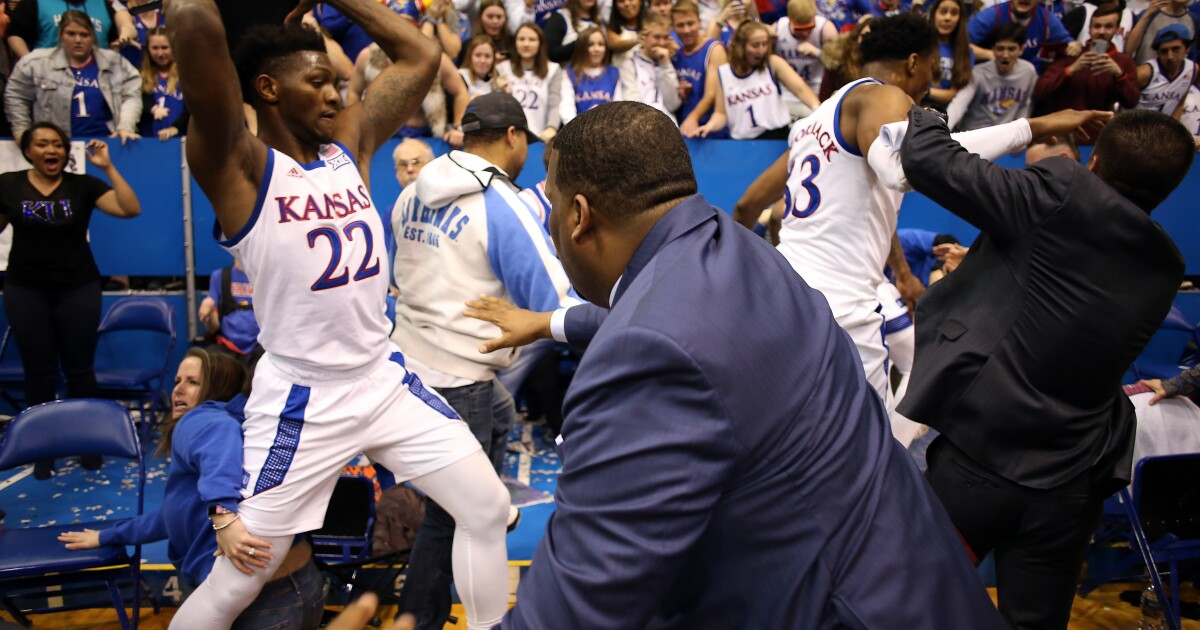 Watch brawl break out at end of Kansas State-Kansas game