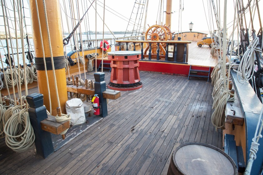 The HMS Surprise is one of the ships available to tour in the San Diego Maritime Museum's outdoor experience.