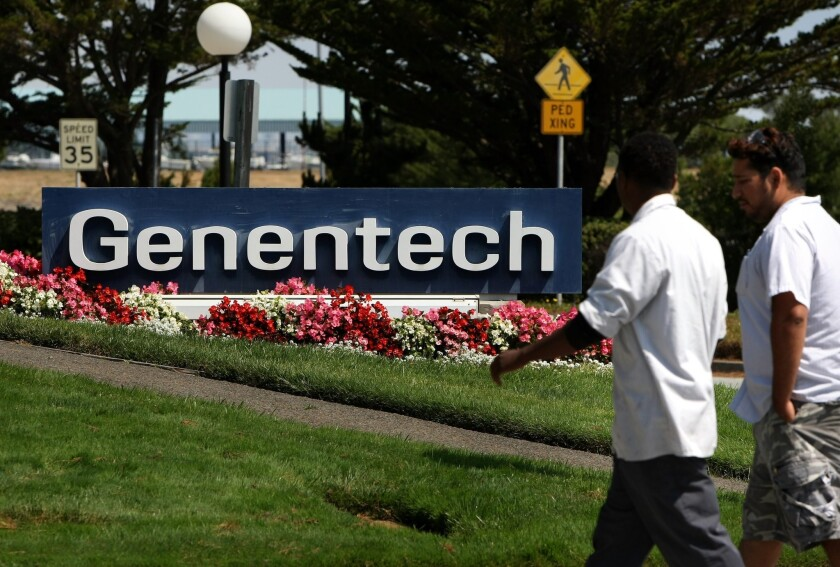 Government data show that City of Hope, a major cancer treatment center in Duarte, received $122.5 million in royalty income from drug maker Genentech, a unit of Swiss giant Roche Holding. Above, Genentech headquarters in South San Francisco.