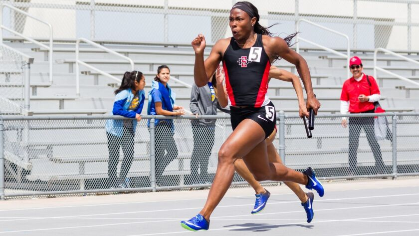 SDSU's Ashley Henderson, shown here at a meet in April, is among the favorites in the 100 and 200 meters at the NCAA Championships this week in Eugene, Ore.