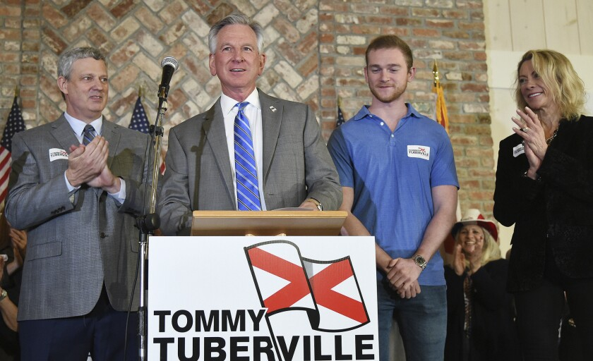 Alabama U.S. Senate candidate Tommy Tuberville speaks to his supporters at Auburn Oaks Farm in Notasulga, Ala., Monday, March 3, 2020. He is in a close battle with Jeff Sessions and Bradley Byrne. (Joe Songer/AL.com. via AP)