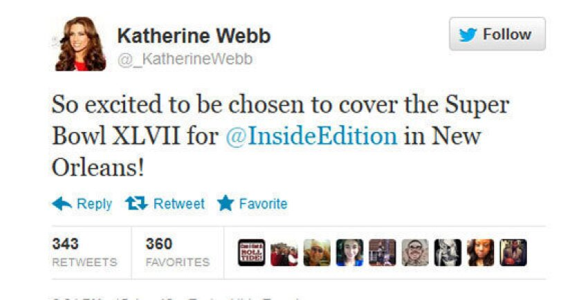 Katherine Webb took to Twitter to announce her new gig.
