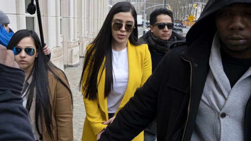 "Emma Coronel Aispuro, center, wife of Joaquin ""El Chapo"" Guzman, arrives at federal court, Monday, F"