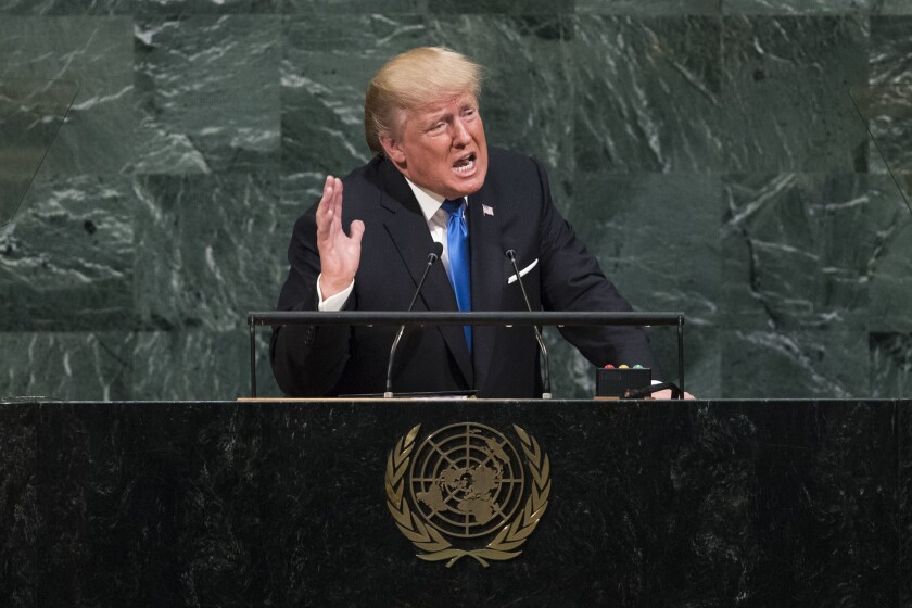 President Trump addresses the United Nations General Assembly in 2017.