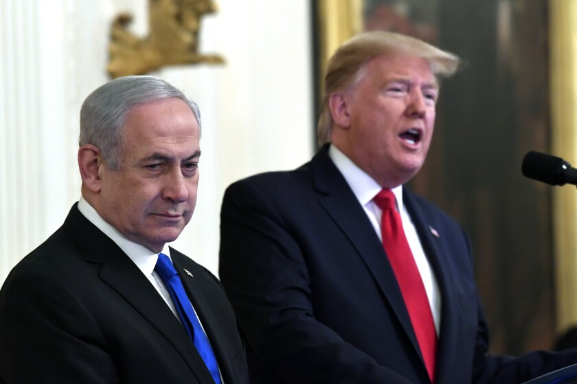 President Trump and Israeli Prime Minister Israel Benjamin Netanyahu deliver remarks at the White House on Jan. 28, 2020.