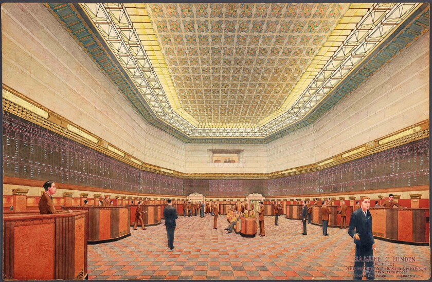 """An architectural rendering, circa 1929, of the interior of the Los Angeles Stock Exchange is among the works featured in the exhibition """"Architects of a Golden Age: Highlights From The Huntington's Southern California Architecture Collection."""""""